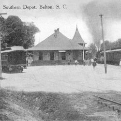 Depot with Blue Ridge & Southern Train Cars